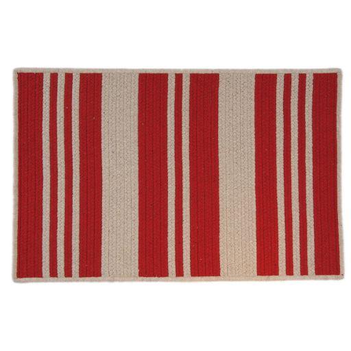 Sunbrella Varsity Stripe Braided Reversible Indoor Outdoor Rug