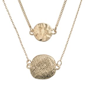 LC Lauren Conrad Textured Disc Multistrand Necklace