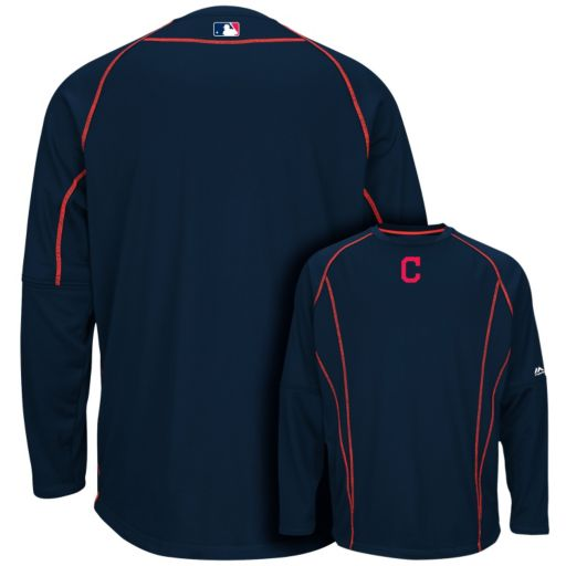Men's Majestic Cleveland Indians On-Field Practice Therma Base Fleece Pullover
