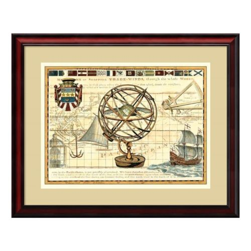 ''Nautical Map I'' Framed Wall Art