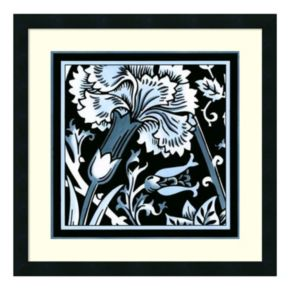 'Blue and White Floral Motif I'' Framed Wall Art