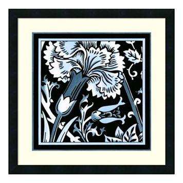 'Blue & White Floral Motif I'' Framed Wall Art