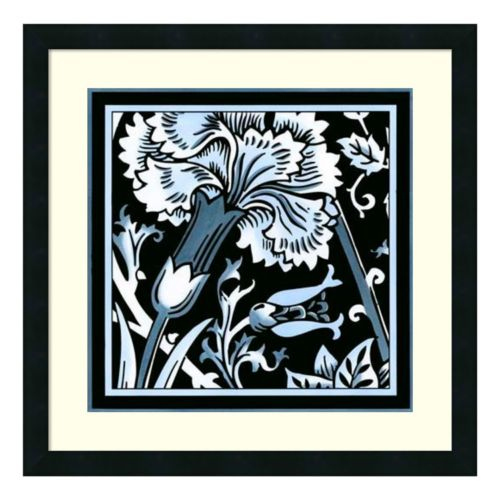 "'Blue and White Floral Motif I"" Framed Wall Art"