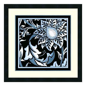 'Blue & White Floral Motif II'' Framed Wall Art