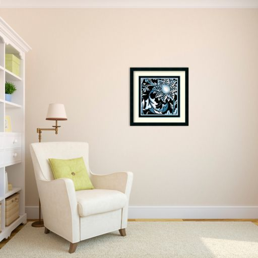 'Blue and White Floral Motif II'' Framed Wall Art