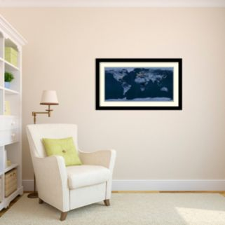 ''Satellite View Of The World'' Framed Wall Art