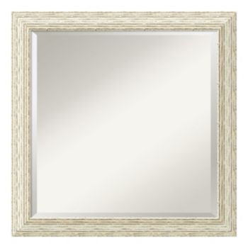 Cape Cod Whitewash Distressed Wood Square Wall Mirror