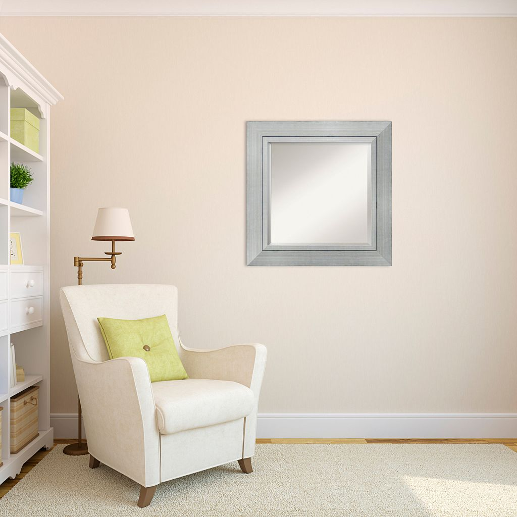 Romano Modern Silver Finish Framed Wood Square Wall Mirror