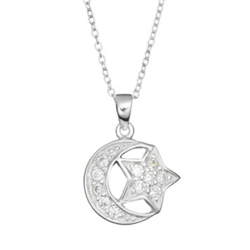Cubic Zirconia Sterling Silver Moon & Star Pendant Necklace