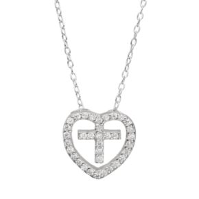 Cubic Zirconia Sterling Silver Heart & Cross Pendant Necklace