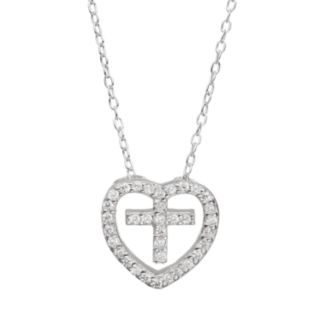 Cubic Zirconia Sterling Silver Heart & Cross Pendant Necklace