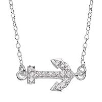 Cubic Zirconia Sterling Silver Anchor Necklace