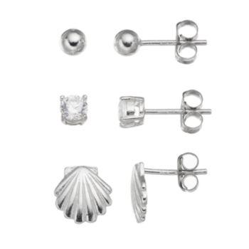 Cubic Zirconia Sterling Silver Seashell & Ball Stud Earring Set