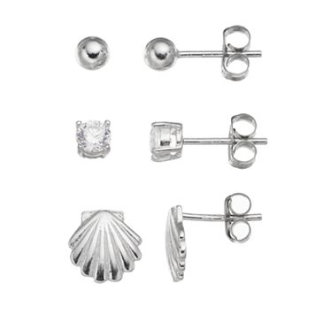 Cubic Zirconia Sterling Silver Seashell & Ball Stud Earring Set