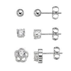 Cubic Zirconia Sterling Silver Flower & Ball Stud Earring Set