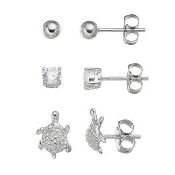 Cubic Zirconia Sterling Silver Turtle & Ball Stud Earring Set