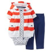 Carter's Rugby Stripe Nautical Hooded Cardigan Set - Baby Girl