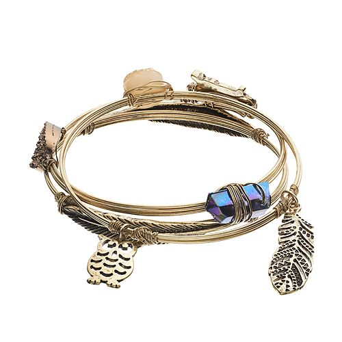 Mudd® Owl & Feather Bangle Bracelet Set