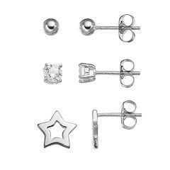 Cubic Zirconia Sterling Silver Star & Ball Stud Earring Set