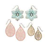Mudd® Filigree Flower & Teardrop Earring Set