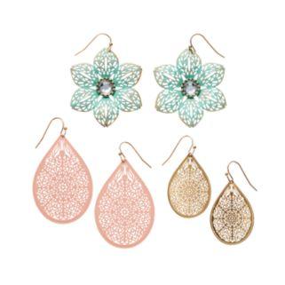 Mudd® Filigree Flower & Teardrop Earring Set