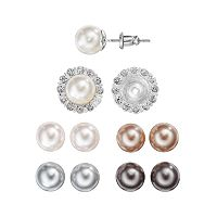 Interchangeable Halo Stud Earring Set