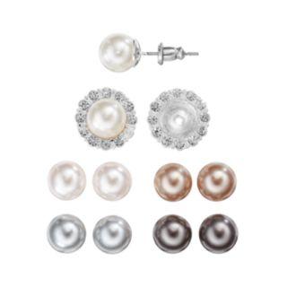 Interchangeable Halo Stud Earring Set