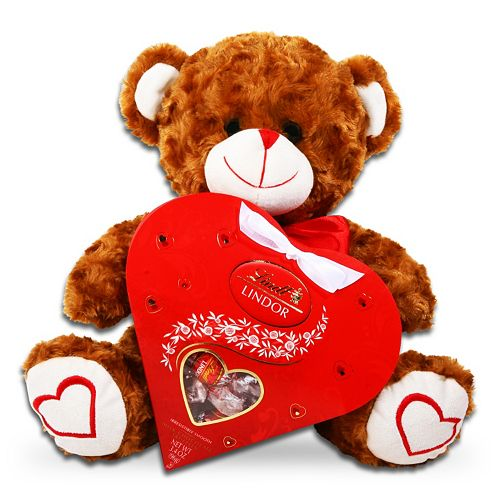 Lindt LINDOR Valentine's Day Bear & Chocolate Heart Gift Set