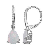 Sparkle Gem Sterling Silver Simulated Opal & Cubic Zirconia Teardrop Earrings