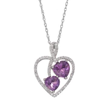 Amethyst & Lab-Created White Sapphire Sterling Silver Heart Pendant Necklace
