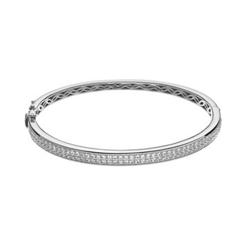 Lab-Created White Sapphire Sterling Silver Bangle Bracelet