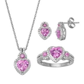 Lab-Created Pink Sapphire Sterling Silver Heart Necklace, Ring & Stud Earring Set