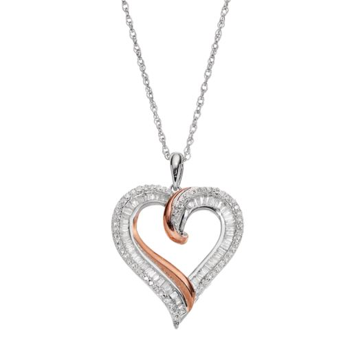 Two Tone Sterling Silver 1/2 Carat T.W. Diamond Heart Pendant Necklace