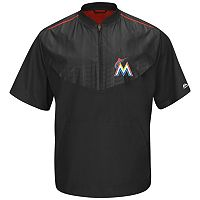 Men's Majestic Miami Marlins On-Field Cool Base Short-Sleeve Training Jacket