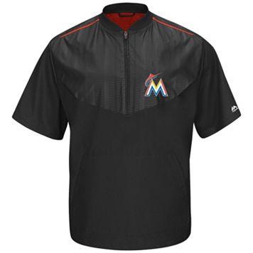 Men's Majestic Miami Marlins On-Field Cool Base Short-Sleeve Training Jacket