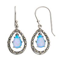 Tori Hill Simulated Blue Opal & Marcasite Sterling Silver Teardrop Earrings