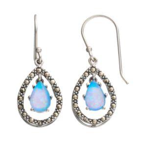 Tori HillSimulated Blue Opal & Marcasite Sterling Silver Teardrop Earrings