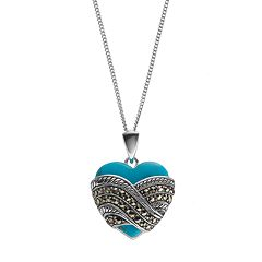 Tori Hill Simulated Turquoise & Marcasite Sterling Silver Heart Pendant Necklace