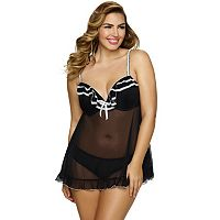 Plus Size Jezebel Tiffany Babydoll & Panty Lingerie Set 999895