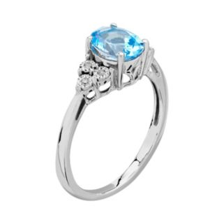 DIAMORE Blue Topaz & Diamond Accent Sterling Silver Ring