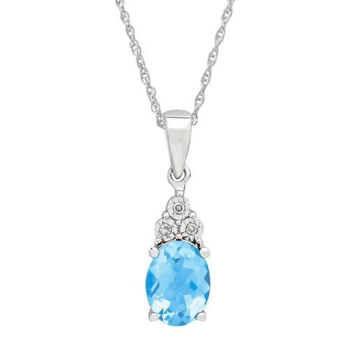 DIAMOREBlue Topaz & Diamond Accent Sterling Silver Pendant Necklace