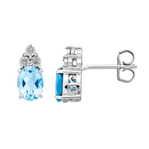 DIAMORE Blue Topaz & Diamond Accent Sterling Silver Stud Earrings