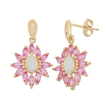 Lab-Created Opal, Lab-Created Pink Sapphire & Lab-Created White Sapphire 18k Gold Over Silver Flower Drop Earrings