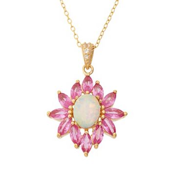Lab-Created Opal, Lab-Created Pink Sapphire & Lab-Created White Sapphire 18k Gold Over Silver Flower Pendant Necklace