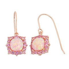 Lab-Created Pink Opal & Lab-Created Pink Sapphire 18k Rose Gold Over Silver Square Halo Drop Earrings