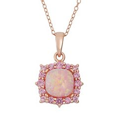 Lab-Created Pink Opal & Lab-Created Pink Sapphire 18k Rose Gold Over Silver Square Halo Pendant Necklace