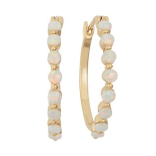 Lab-Created Opal 18k Gold Over Silver Hoop Earrings