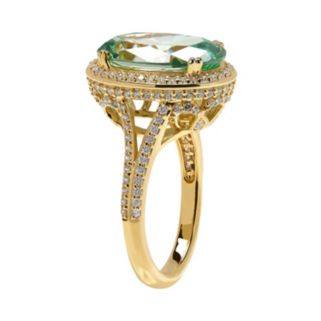 Emotions 14k Gold Over Silver Halo Ring - Made with Swarovski Cubic Zirconia