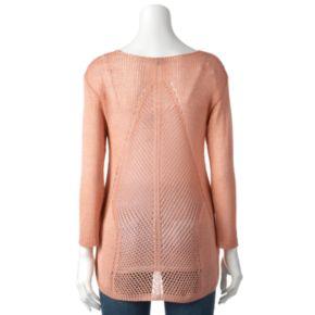 Women's Apt. 9® Open-Work Lurex Sweater