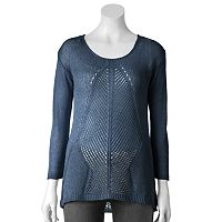 Women's Apt. 9® Open-Work Lurex Sweater